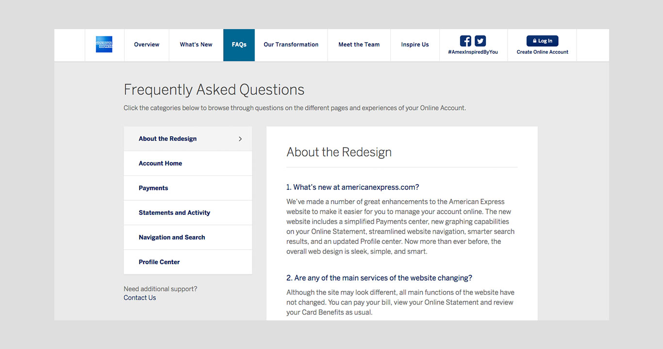 Screenshot of FAQs